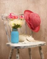 vintage hat flowers style chair