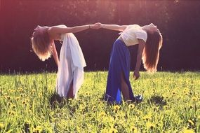 two girls with long hair holding hands in a meadow