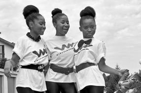 black and white photo of african american girls