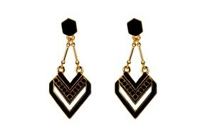 black and gold earrings ornaments female fashion