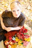 young blonde woman fall autumn vintage