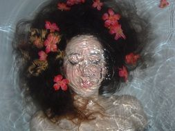 Photo of woman is underwater