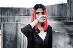 beautiful asian woman with pink hair