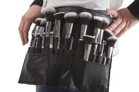 handbag with brushes for make-up