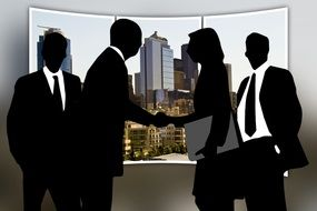 silhouettes of group of business people