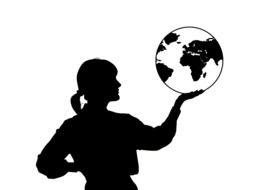 woman with globe drawing