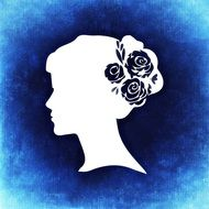 blue background with white silhouette of a woman