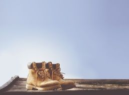 blue sky brown boots fashion daylight