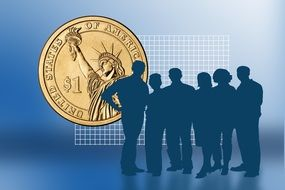 team silhouette on a gold coin background