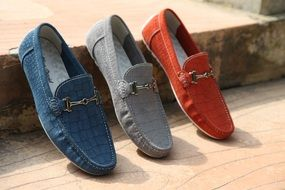 blue, gray and red men's shoes