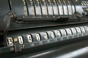 Closeup photo of vintage calculator