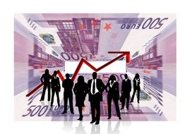 silhouettes of people in business suits on the background of banknotes and arrow of a success