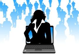 laptop monitor businesswoman silhouette