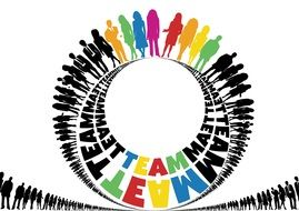 teamwork sign with people silhouettes