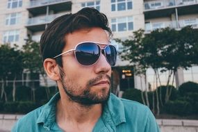 Handsome young man model in dark sunglasses