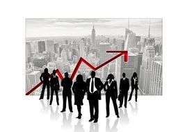 silhouettes of a group of business people on the background of skyscrapers and financial success arrow