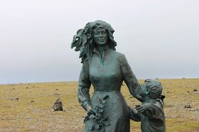 woman child north cape norway wait