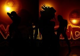 silhouette woman girl movement night dance club