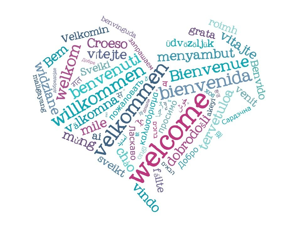 white background heart international languages words