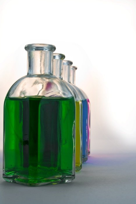 bottles colorful glass color blue green