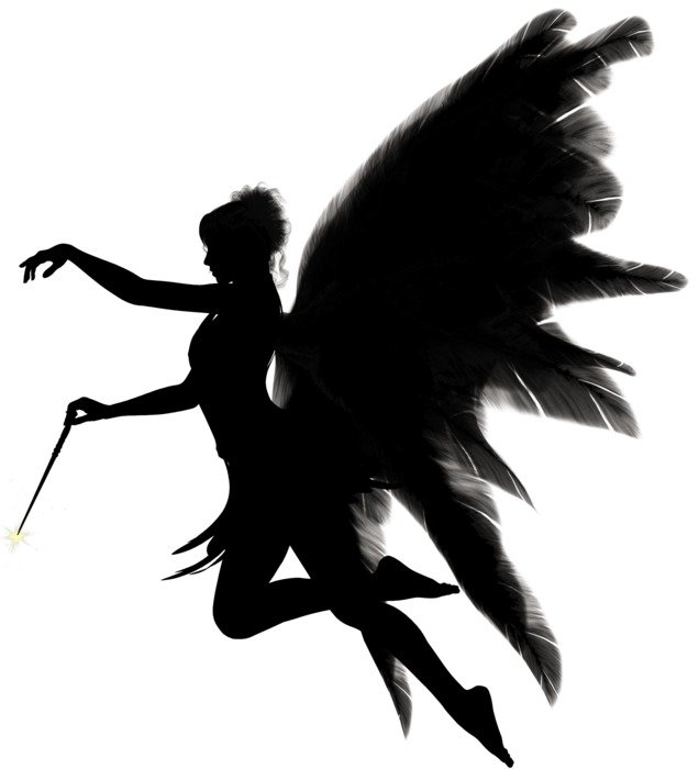 silhouette of a woman with angel wings