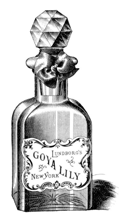 vintage black and white purfume in a glass bottle