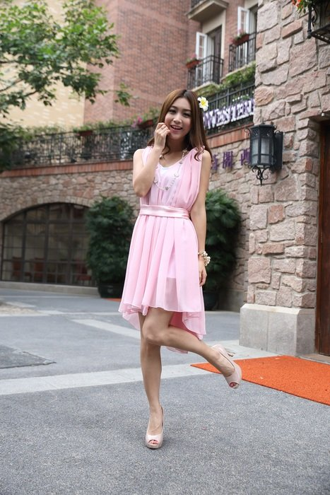 beautiful young woman pink fairy skirt