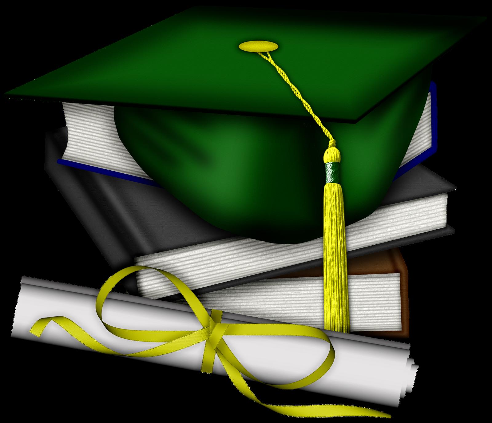 Green Graduation Cap Clip Art drawing free image
