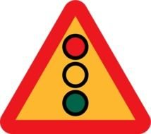 Traffic light drawn on a warning triangular sign