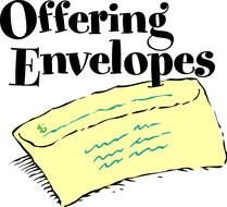 Offering Envelopes, black lettering above yellow envelope, drawing