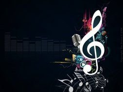 Colorful musical tools clipart