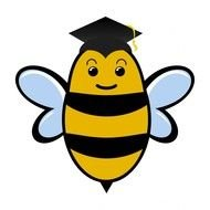 cartoon Bee wearing graduation hat