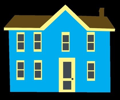 Blue House Clip Art Free drawing