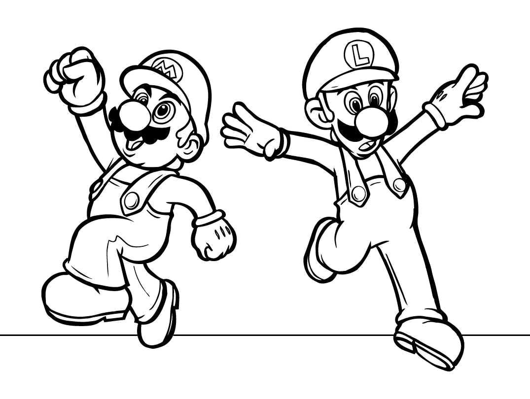 Coloring Page With Super Mario Characters Free Image