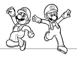 coloring page with Super Mario characters