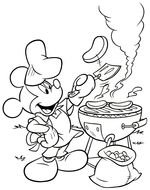 BBQ Mickey Mouse Coloring Pages