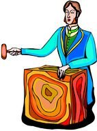 Cartoon colorful auctioneer clipart
