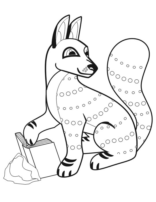 painted fox in coloring book