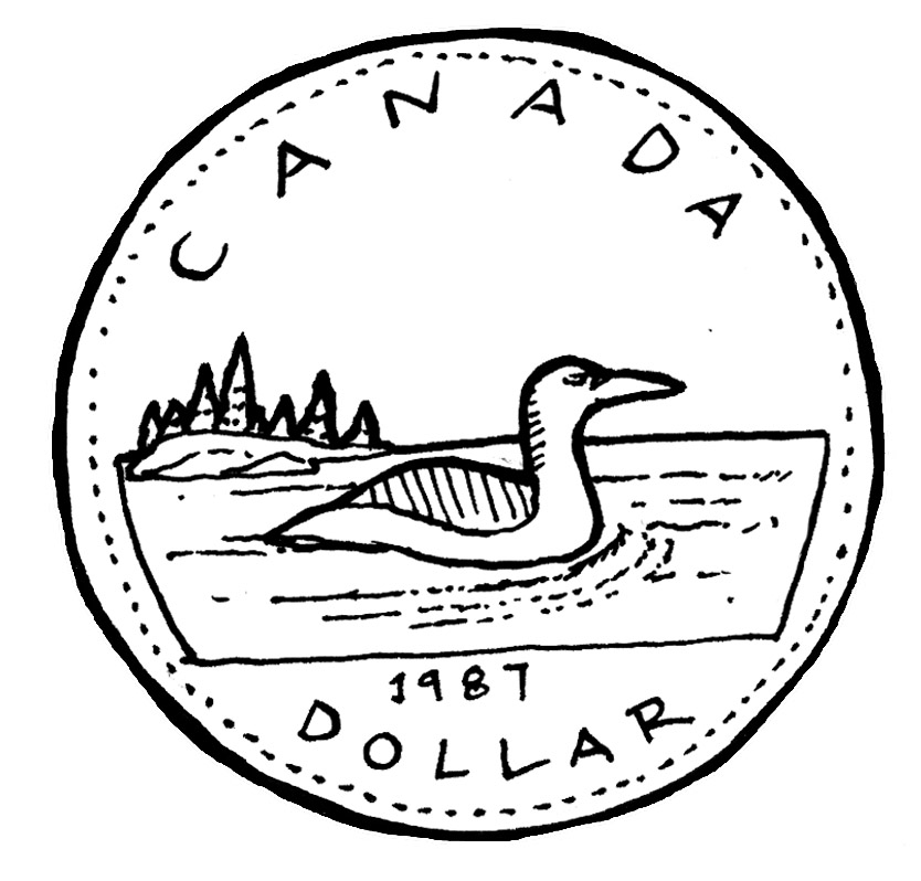 Canadian Loonie, 1 Dollar Coin Revers, drawing free image
