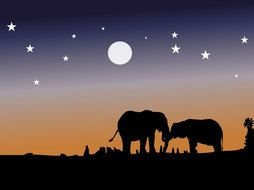 nice Elephant Silhouette drawing