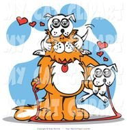 Cat Clip Art Of A Big Furry Orange With White Dog
