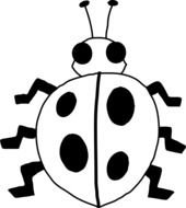 Black And White Ladybug clip art drawing