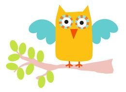 drawing of a yellow owl on a tree branch