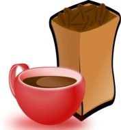 Cup Of Coffee With Sack Beans as a picture for clipart