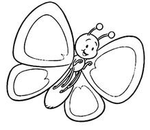 black and white picture of a cute butterfly for coloring