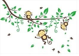 drawn young monkey on a green branch