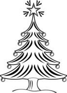 black and white drawing of a decorated christmas tree