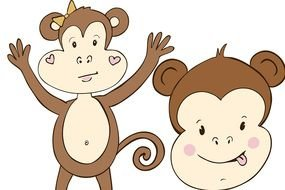 two funny monkeys as a picture for clipart