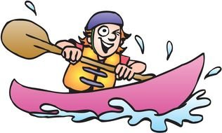 happy Cartoon man in Kayak, Clip Art