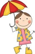 little girl under an umbrella as a illustration